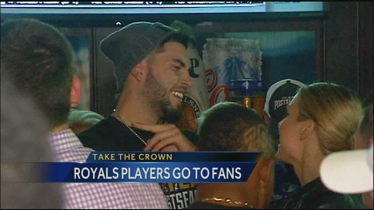 Several Kansas City Royals players showed up at Kansas City's Power and Light District on Sunday night to celebrate their win against the Los Angeles Angels.