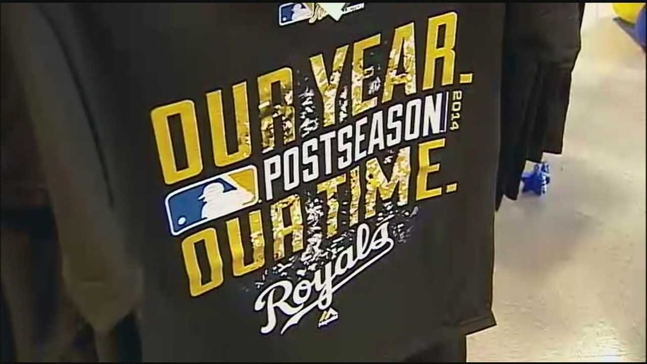 A T-shirt seen on Royals players after Sunday's ALDS victory has become a popular and scarce item at stores across Kansas City.