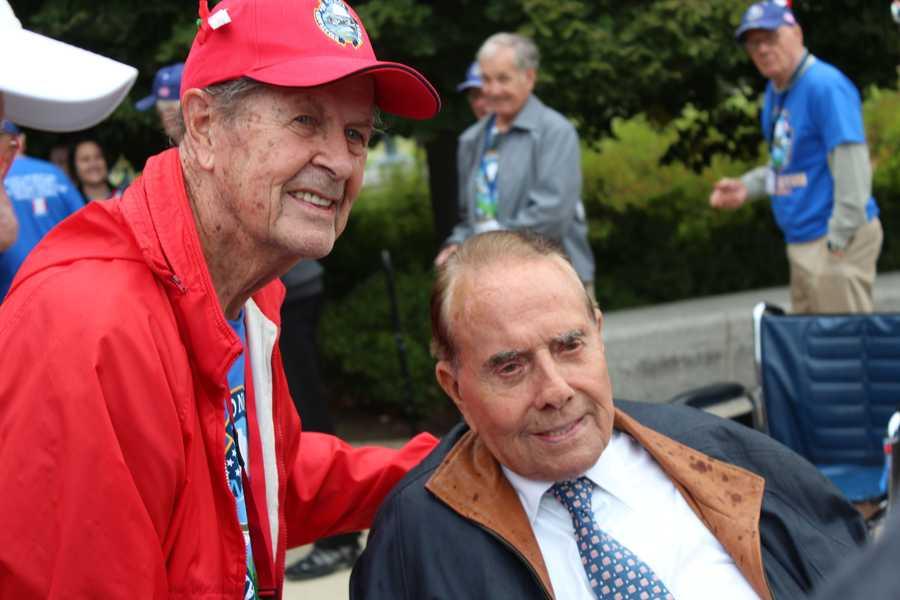 Heartland Honor Flight veterans visit the World War II Memorial in Washington, D.C. Senator Bob Dole meets with veterans.