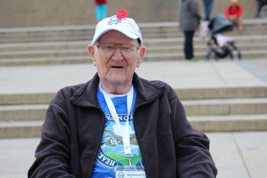 Heartland Honor Flight veterans visit the Korean War Memorial. World War II veteran Raymond Gorman reflects on his multiple tours of duty in the Pacific.