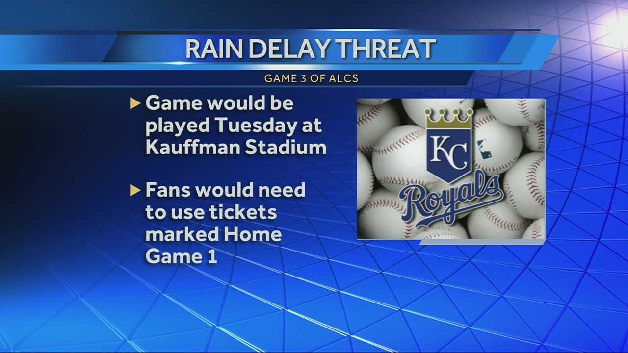 Officials with Major League Baseball are keeping a close eye on the radar today as time for game 3 in the ALCS approaches. If the game is rained out, there is a back-up plan in place for ticket holders.