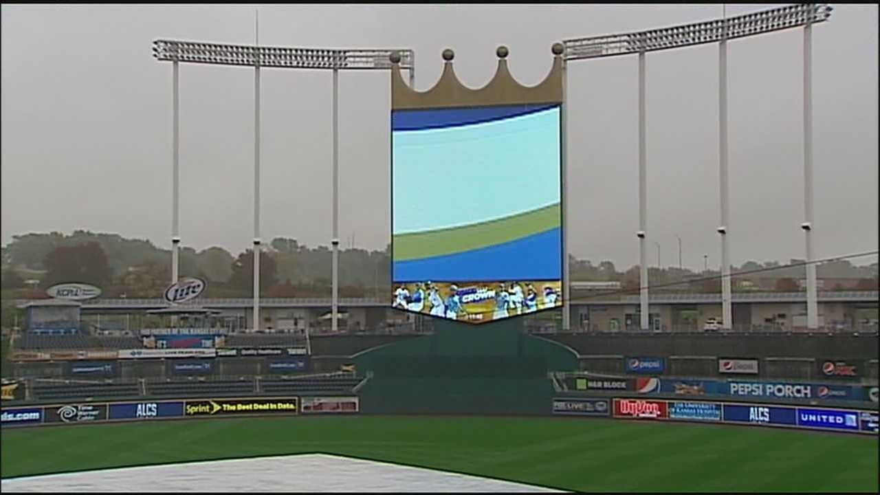 The field at Kauffman Stadium won't host a playoff game Monday, but the grounds crew said it can handle a wide range of weather conditions.