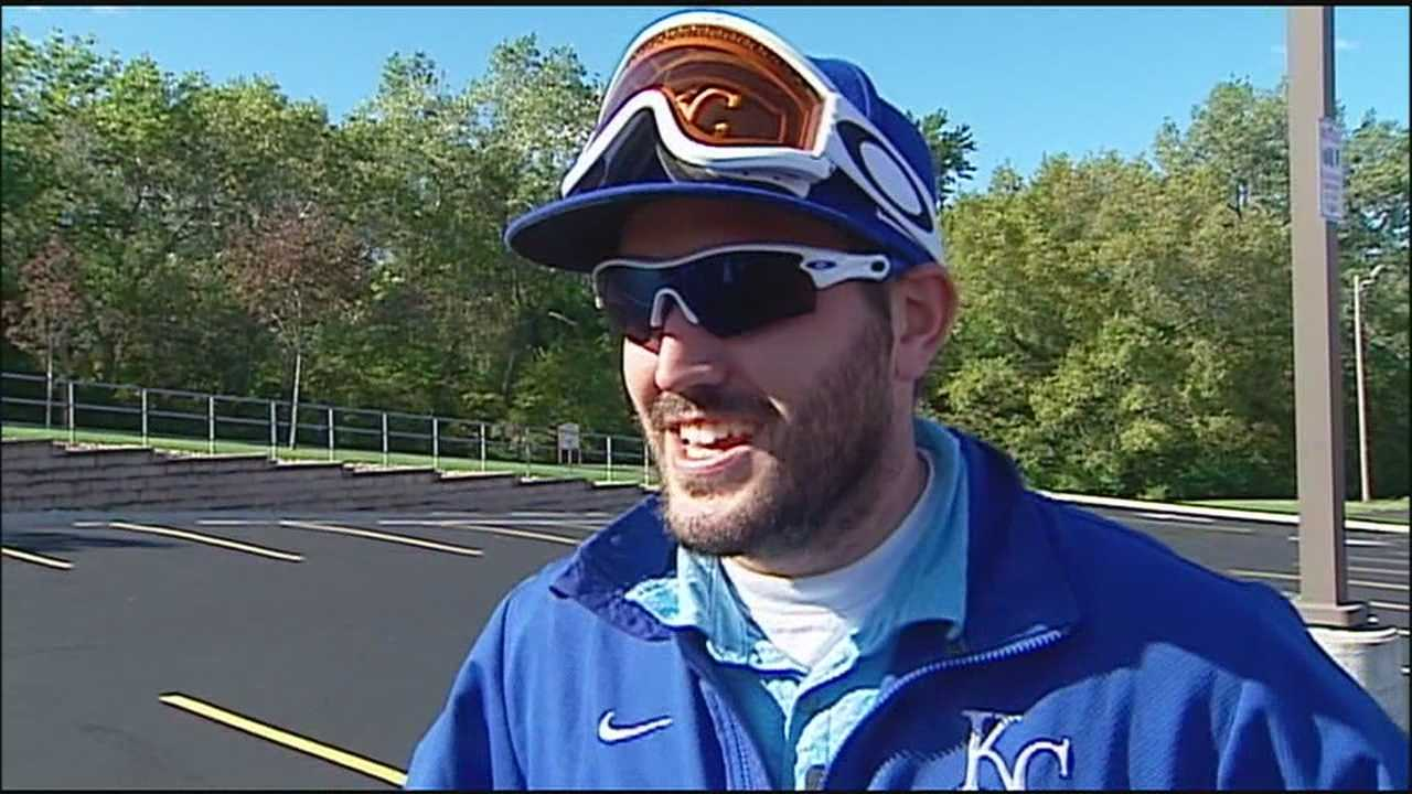 A Royals fan who left the last postseason game at Kauffman Stadium with catcher Salvador Perez's champagne-soaked goggles is going back for the American League Championship Series.