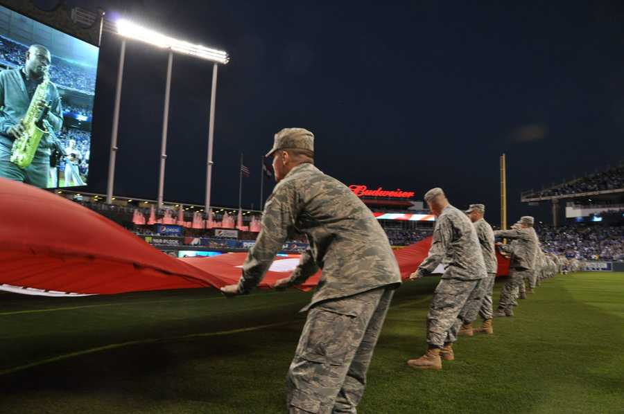Images from Tuesday night's powerful flag detail prior to American League Championship Series Game 3 between the Kansas City Royals and Baltimore Orioles.