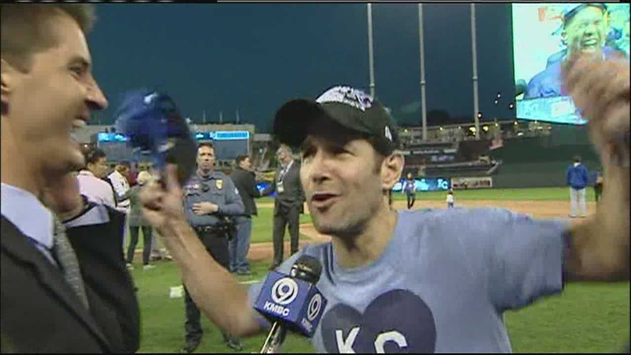 Actor and super Royals fan Paul Rudd said the whole town was savoring the win that sent the Royals to the World Series and joked that he planned to celebrate with a party at his mom's place.