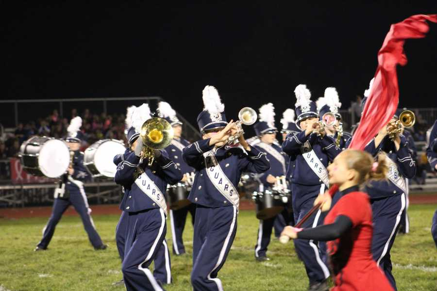 Mill Valley led at halftime over St. James Academy, 10-7.  The Jaguars marching band and its dancing team put on a show at half.