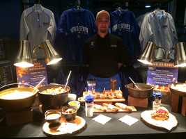 A look at some of the new food items available for purchase at Kauffman Stadium during the World Series. The new menu includes roasted turkey breast, a butternut squash bisque, smoked chili, caramel apples, muddled apple cider and hot chocolate.