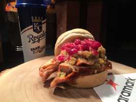 """""""Turkey Gobbler:"""" House roasted turkey breast, stuffing and cranberry, topped with warm gravy on a fresh baked roll."""