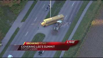 13 people were injured in a school bus crash near Lee's Summit West High School on Monday afternoon.