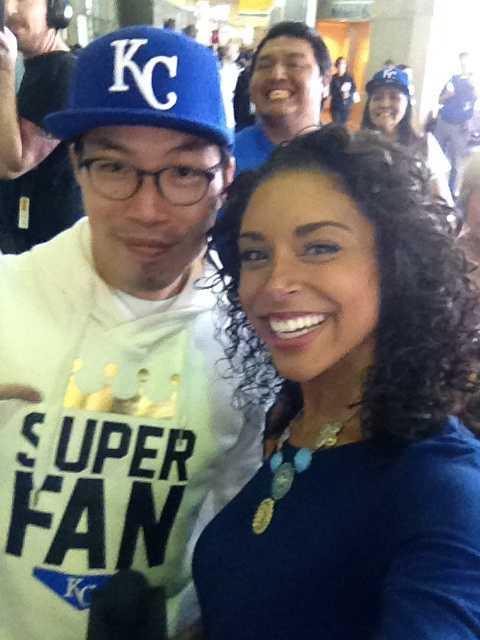 He also took a selfie with KMBC reporter Kisha Henry.