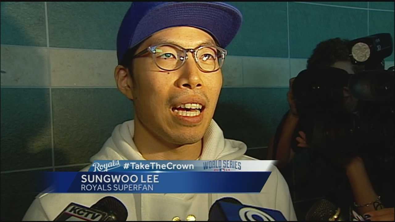 He's back: Kansas City Royals South Korean super fan Sung Woo Lee has returned to the city of fountains to cheer on his boys in blue.