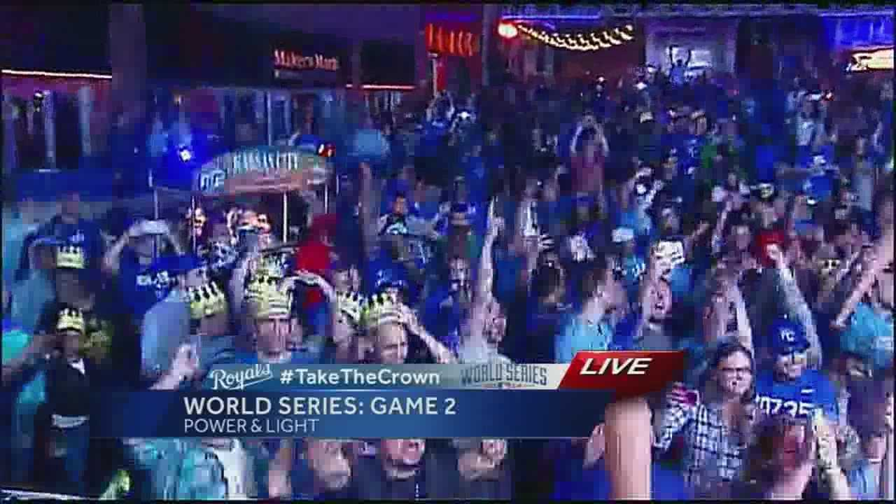 Thousands partied in Kansas City's Power and Light District to celebrate the Royals World Series Game 2 victory over the San Francisco Giants on Wednesday night.