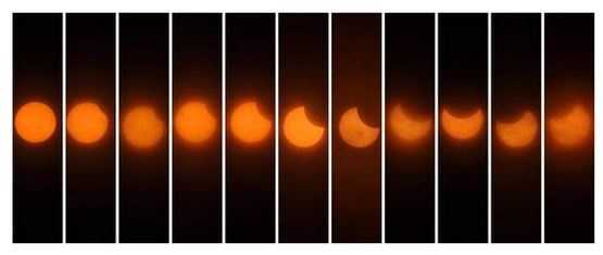 This is a time-lapse comparison from a KCRA viewer near Sacramento, California. Regular sunglasses would not fully protect eyes from damage during this event. Therefore, so anyone viewing the eclipsewasurged to wear special filtered glasses.