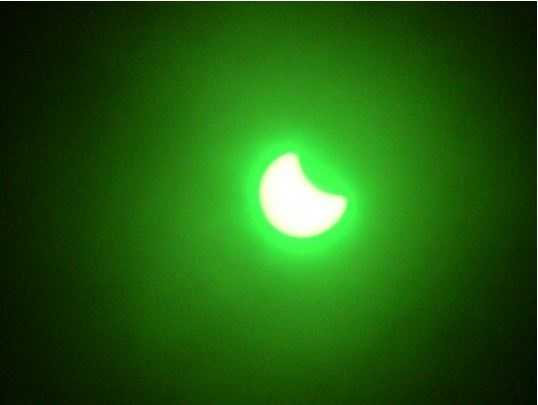 Partial solar eclipse Thursday around 5:45 p.m. captured through welding glasses in Auburn, California.