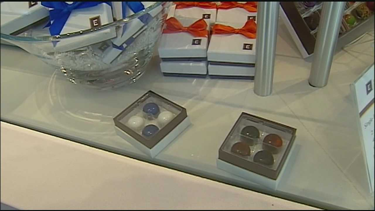 Kansas City-based Christopher Elbow chocolates have special World Series candies for sale at their San Francisco store.