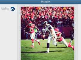 This is a photo of Justin Houston's first sack of the game posted to KMBC 9 News Instagram page. Houston would record two more sacks.