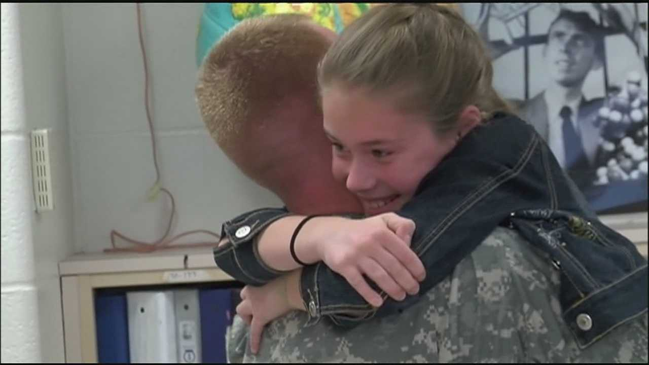 A National Guard captain who just returned from a 10-month deployment surprised five of six of his children on Monday.