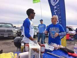 Meteorologist Neville Miller talks Royals with fans.