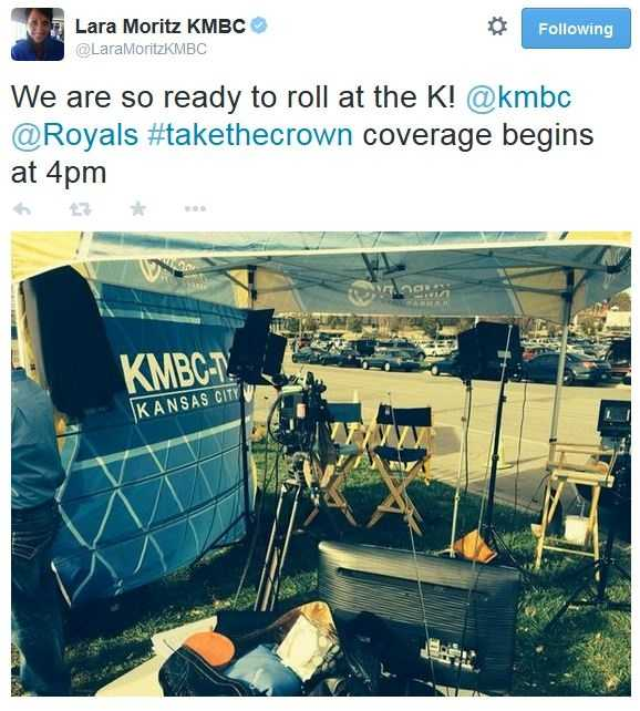 KMBC 9 News at 5 anchor Lara Moritz tweets before the 4 p.m. update from the parking lot.
