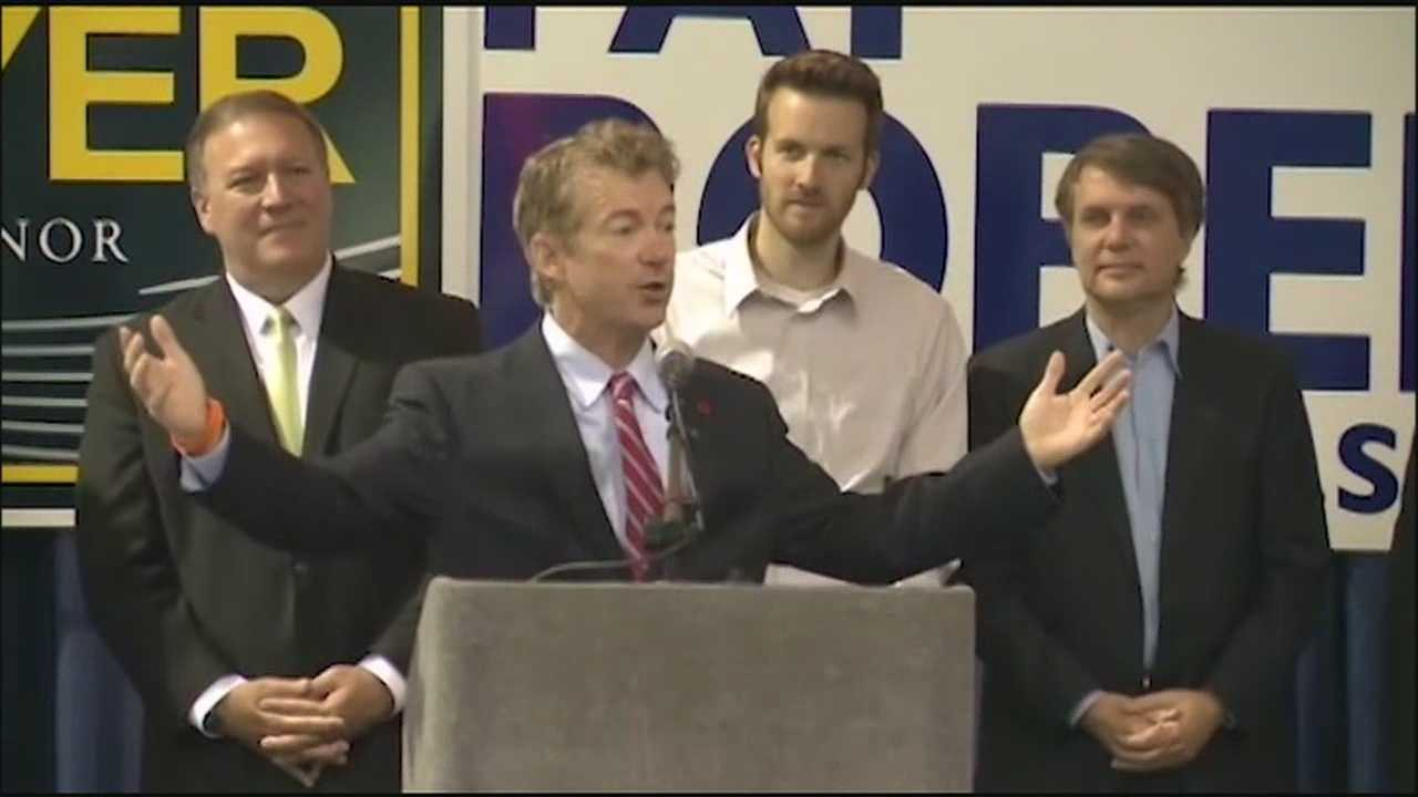 Kentucky Sen. Rand Paul, a potential Republican candidate for president in 2016, campaigned in Kansas Tuesday to help boost Republican incumbents trying to hold on to a seat in the U.S. Senate and the Kansas governor's office.