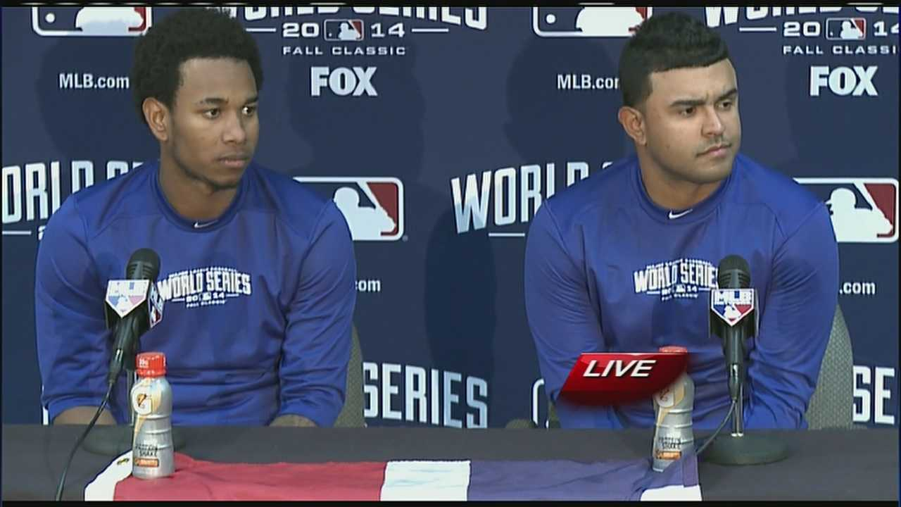 Yordano Ventura (left) dedicates Tuesday's World Series performance to Oscar Taveras, a friend and St. Louis Cardinal who died in a car crash.
