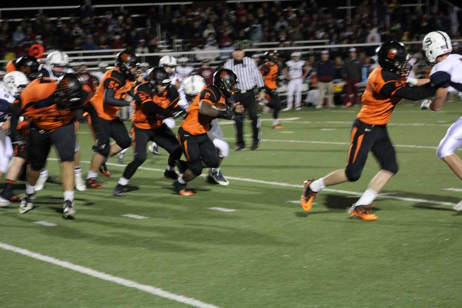 Bonner Springs running back Marcell Holmes and the offense came alive in the second half. Holmes scored two touchdowns in the second half as Bonner Springs defeated St. James Academy 13-0.