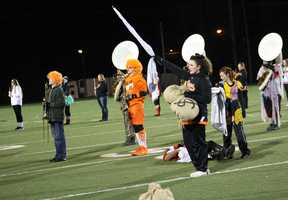 The halftime show was befitting the Halloween spirit, ghosts and goblins around the stadium.