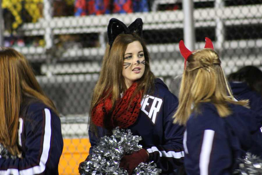 St. James Academy cheering section also sported the Halloween spirit.
