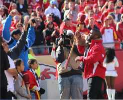 Former Chiefs running back Priest Holmes was inducted into the Chiefs Hall of Fame at halftime.  He also lowered the boom during the pregame.