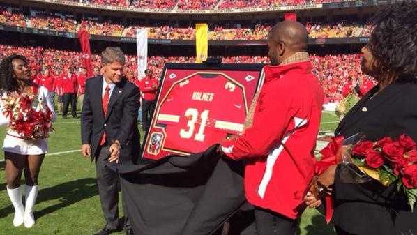 Former Chiefs running back Priest Holmes was inducted into the Chiefs Hall of Fame at halftime. Jamaal Charles only recently surpassed Holmes as the Chiefs all-time leading rusher.