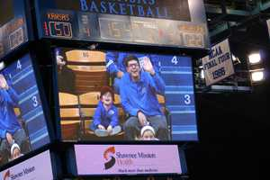 These guys stole the show late in the game on the Jumbotron.