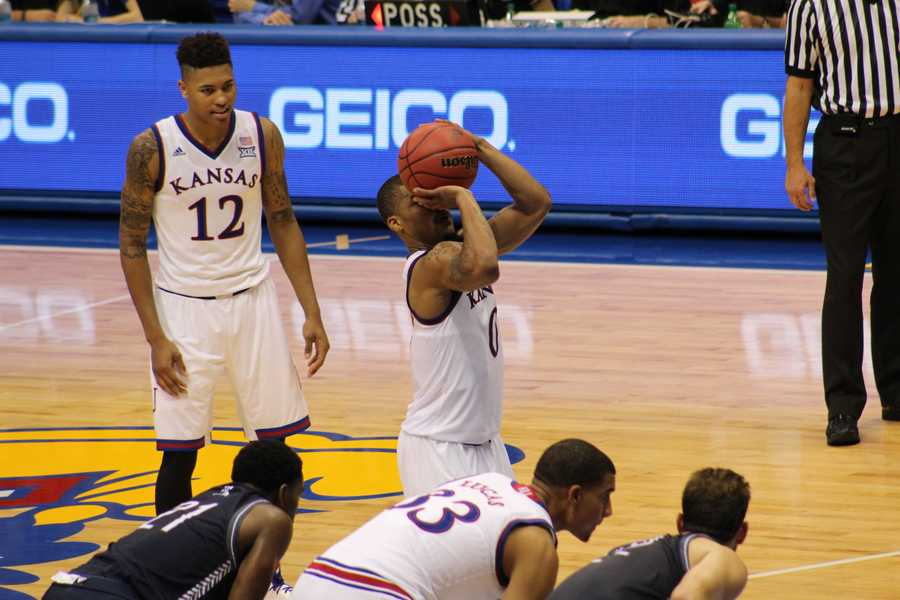 Frank Mason III hits one of three free throws on the night, finishing with 11 points.