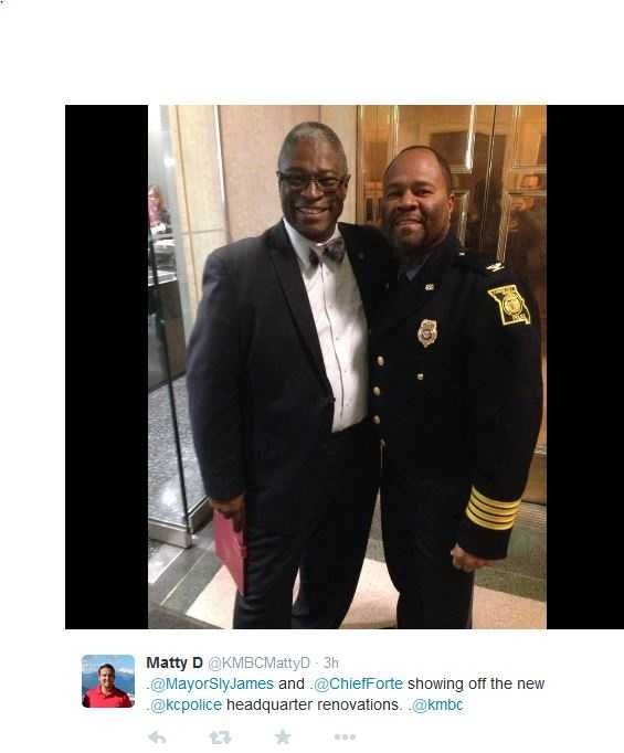 Kansas City Mayor Sly James and KCPD Chief DarrylForté spoke at the re-dedication ceremony.