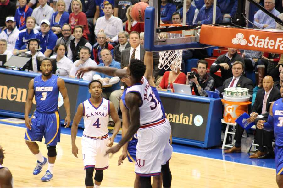 The Jayhawks lone 4-year senior, Jamari Traylor, led the Jayhawks in the paint on defense.  This is one of his team-high two blocks.