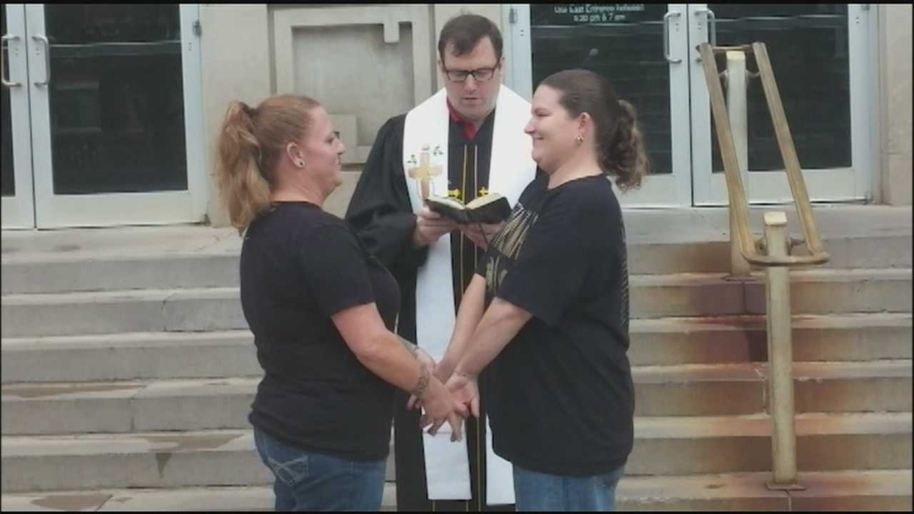 Two women who have been trying to complete the legal process of getting married in Johnson County for weeks are thrilled that a Kansas Supreme Court ruling should let them pick up their marriage licenses.
