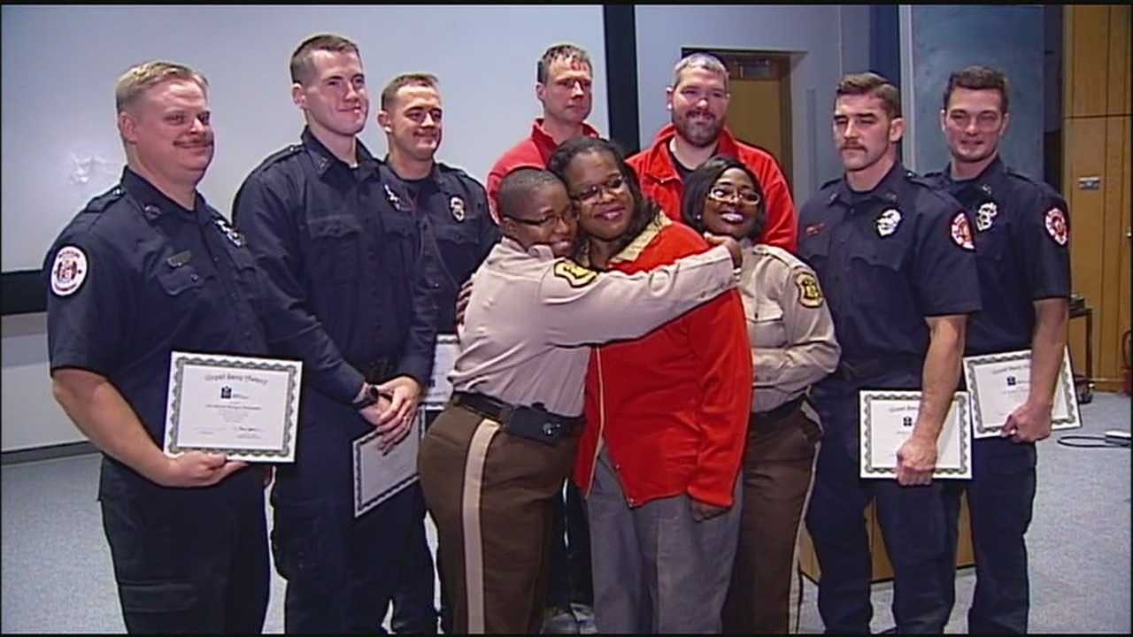 A woman who survived cardiac arrest while visiting the DMV was able to thank the people who saved her life.