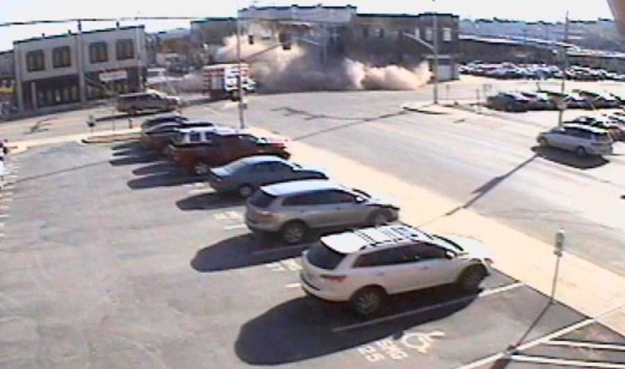 Images near 18th Street and Oak Street in Kansas City, Mo., where a building has partially collapsed after an SUV slammed into it following a police chase on Thursday morning.