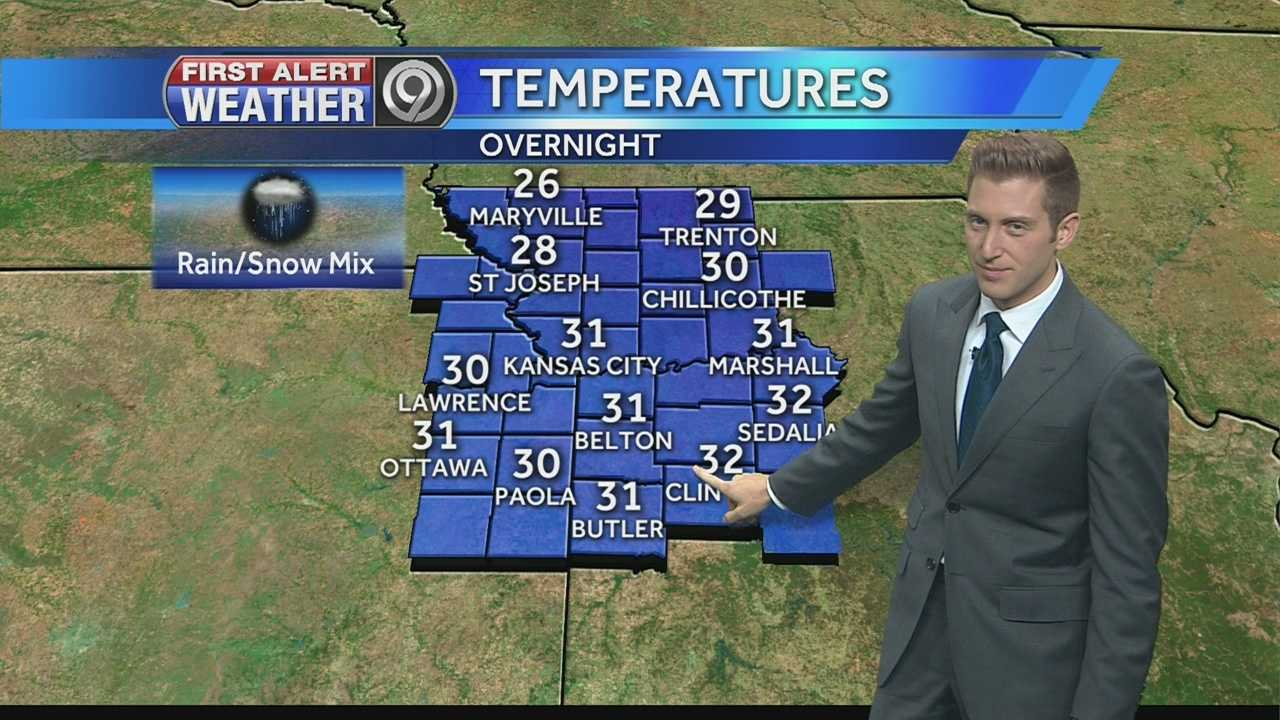 KMBC 9 meteorologist Nick Bender says we can expect rain for much of the evening and colder temperatures as a cold front moves through the region..