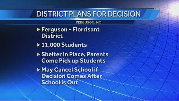 Officials in the Ferguson-Florrisant School District say they have specific plans in place for students based on when a possible decision from the Ferguson Grand Jury comes down.
