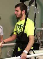Olathe East football player James McGinnis continues his rehab at the Madonna Rehabilitation Hospital in Nebraska.