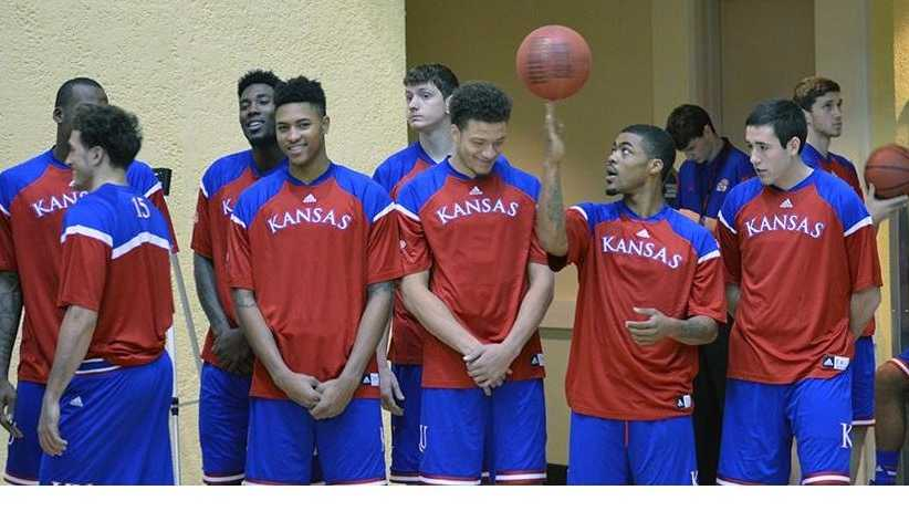 Photo taken pregame by the Kansas Basketball staff.