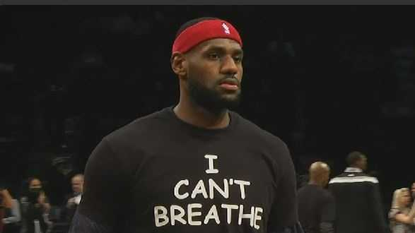 LeBron James and teammate Kyrie Irving protest the decision not to indict an NYPD officer in Eric Garner's death.