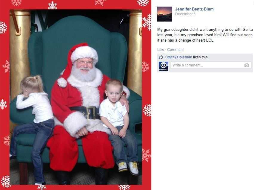"Jennifer Bentz-Blum says, ""my granddaughter didn't want anything to do with Santa."""