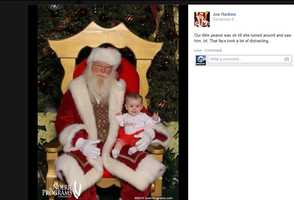 """Joe Harkin says, """"our little peanut was okay until she turned around and saw (Santa Claus)."""""""