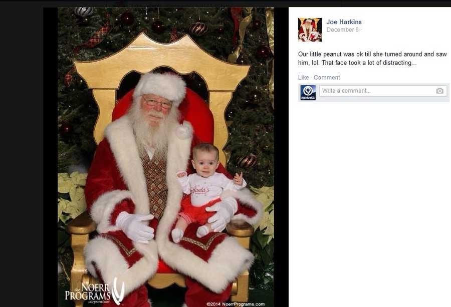 "Joe Harkin says, ""our little peanut was okay until she turned around and saw (Santa Claus)."""