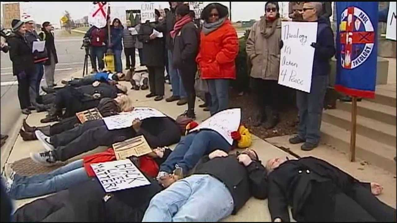 "Seminary students marched through Leawood and staged a symbolic ""die-in"" to protest police shootings and other abuses of power by law enforcement officers."