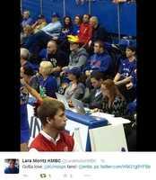 Lara Moritz tweeted plenty of photos while enjoying a KU win Tuesday night. Lara Moritz is an alumnus of the University of Kansas.