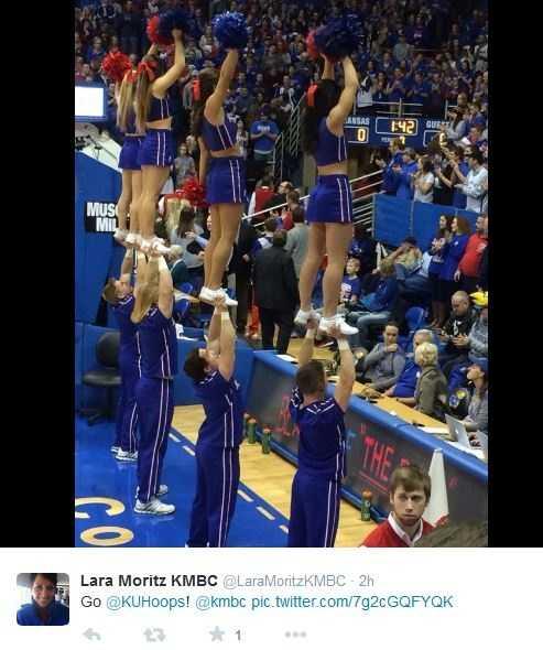 Lara Moritz tweeted plenty of photos while enjoying a KU win Tuesday night.