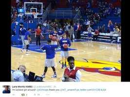 Lara Moritz tweeted plenty of photos while enjoying a KU win Tuesday night. Click here to follow Lara Moritz on Twitter.