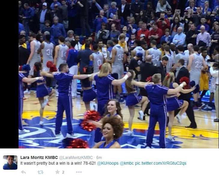 Lara Moritz tweeted plenty of photos while enjoying a KU win Tuesday night. Lara Moritz is an alumnus of the University of Kansas. Kansas won by a score of 78-62 against Kent State.